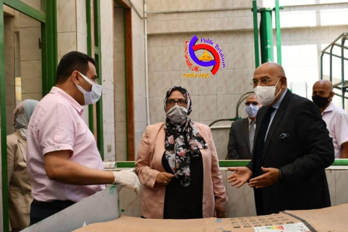 Vice President of Ain Shams University of Environmental Affairs in an inspection tour of the Institute of Environmental Studies and Research